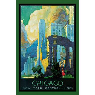 Chicago  vintage travel metal tin sign