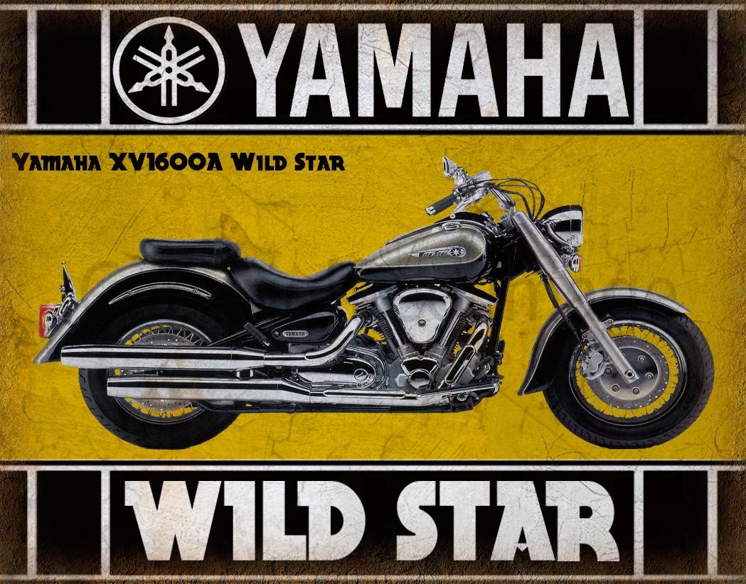 Yamaha XVA Wild Star Motorcycle Vintage Metal Tin Sign Poster - Bmw motorcycle tin signs