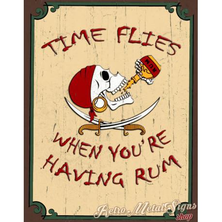 Time Flies When You're Having Rum Pirate pub bar tavern metal tin sign