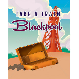 Take a train  to Blackpool travel metal tin sign poster