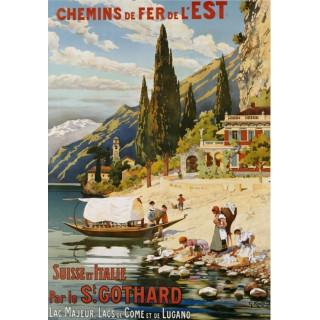 Suisse et Italie Par le St. Gothard 1907  travel metal tin sign poster