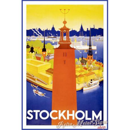 Stockholm Sweden Swedish  vintage travel metal tin sign