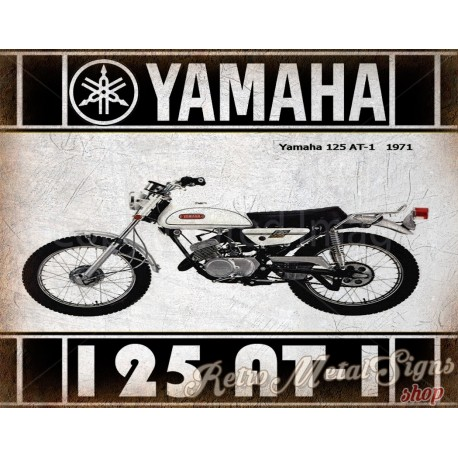 yamaha 125 at1 1971 motorcycle vintage metal tin sign poster wall plaque rh retrometalsignshop com 1972 AT1 125 Yamaha Enduro 1970 Yamaha AT1 125 Enduro