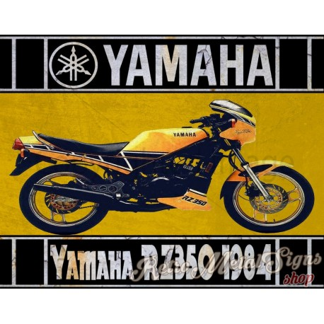 Yamaha RZ350 1984 motorcycle vintage metal tin sign poster wall plaque