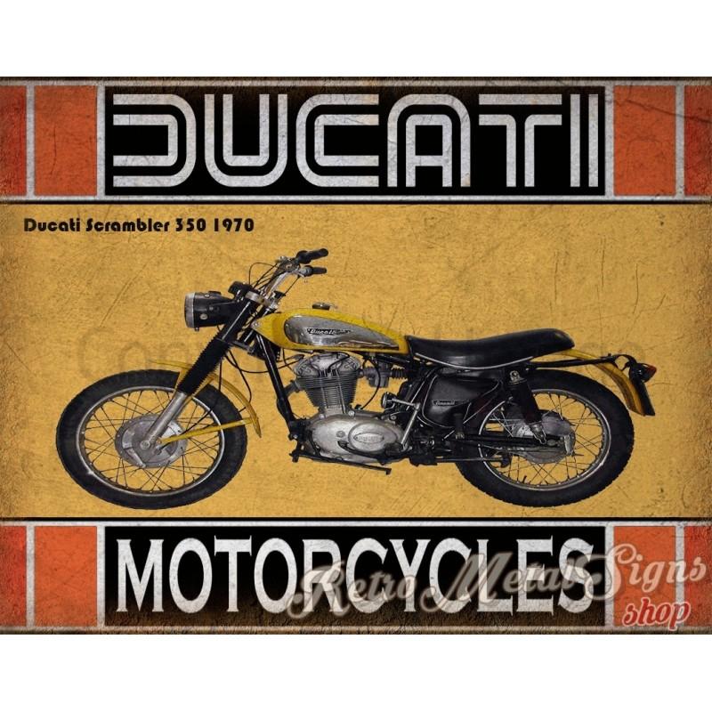Ducati Scrambler 350 1970 Motorcycle Vintage Metal Tin