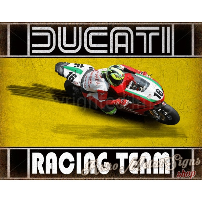 Ducati Racing Team motorcycle vintage metal tin sign poster wall sign