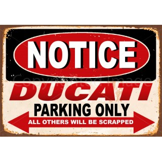 Ducati motorcycle parking vintage metal tin sign poster wall plaque