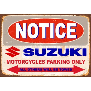 Suzuki motorcycle parking metal tin sign wall plaque