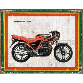 Honda CB450S 1987  vintage garage advertising plaque metal tin sign poster