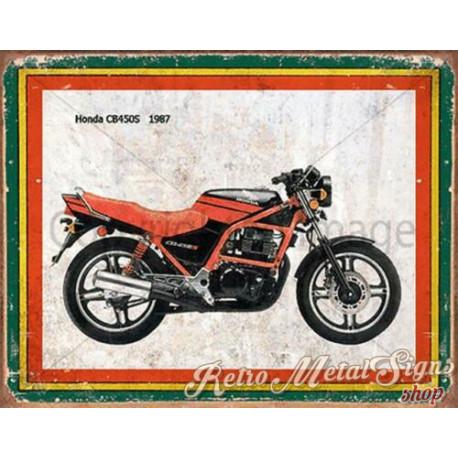 Honda CB450S 1987   vintage garage advertising plaque metal tin sign