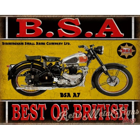 BSA A7 motorcycle vintage metal tin sign poster wall plaque