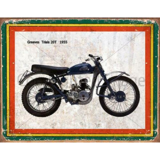 Greeves Trials 20T 1955   vintage garage  plaque metal tin sign poster