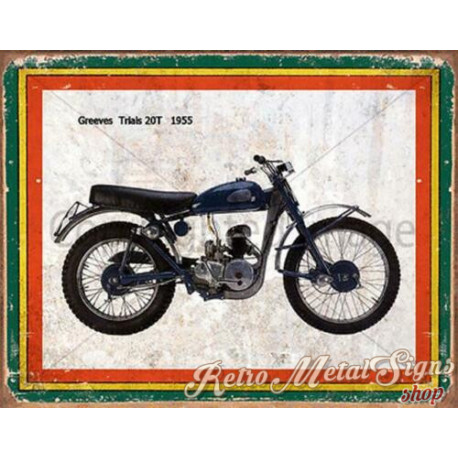 Greeves Trials 20T 1955 motorcycle  garage  plaque metal tin sign