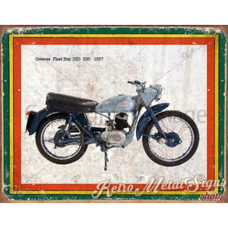 Greeves Fleet Star 20D 250 1957  motorcycle  g plaque metal tin sign