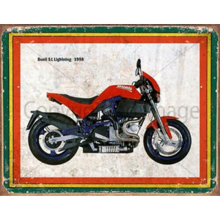 Buell S1 Lightning 1998  vintage garage  plaque metal tin sign poster