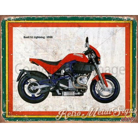 Buell S1 Lightning 1998  motorcycle   plaque metal tin sign