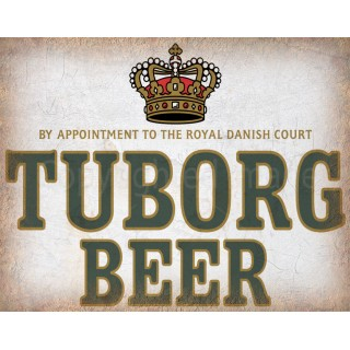 Tuborg Beer vintage alcohol metal tin sign poster