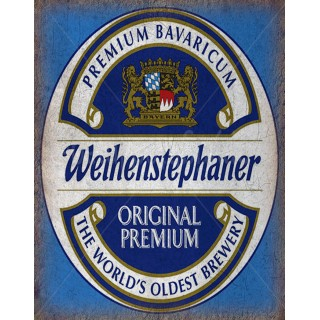 Weihenstephaner Hefeweissbier Beer vintage alcohol metal tin sign poster