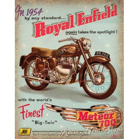 Royal Enfield Meteor 700 motorcycle vintage metal tin sign poster wall plaque