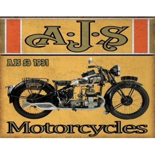 AJS S3 1931 motorcycle vintage metal tin sign poster wall plaque
