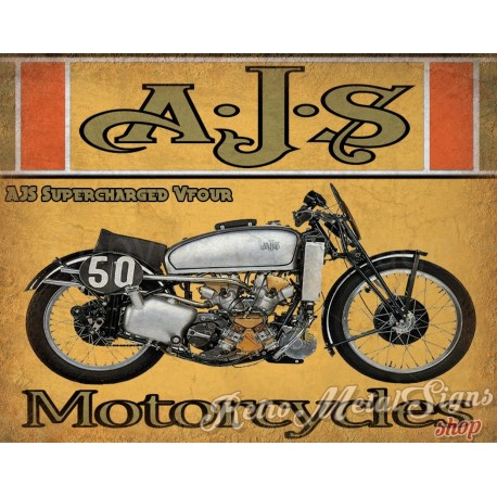 ajs-supercharged-vfour-1939-motorcycle-vintage-metal-tin-sign