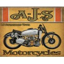 AJS Supercharged Vfour 1939  motorcycle vintage metal tin sign poster wall plaque