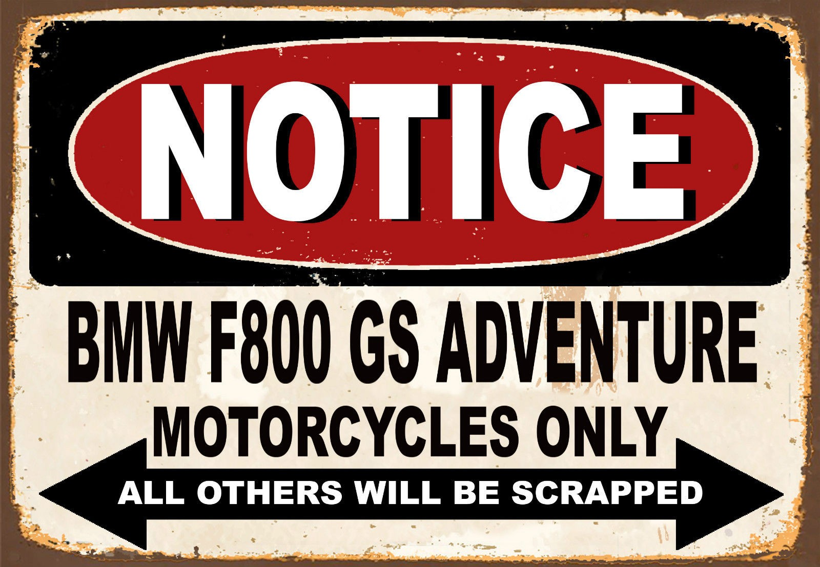 Notice BMW F GS Parking Only Metal Tin Sign - Bmw parking only signs