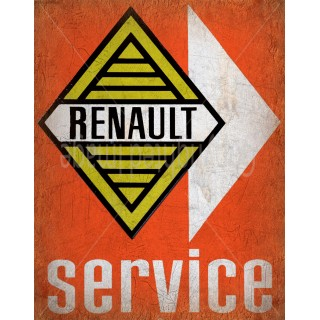 Renault Service vintage metal tin sign wall plaque