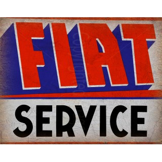 Fiat Service vintage metal tin sign wall plaque