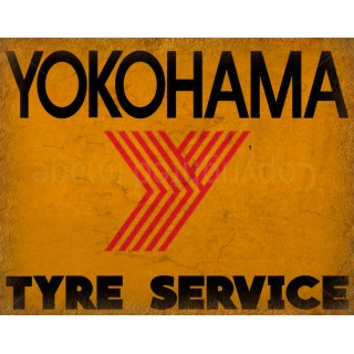 Yokohama Tyre Service vintage metal tin sign wall plaque