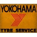 Yokohama Tyre Service vintage metal tin sign wall plaque