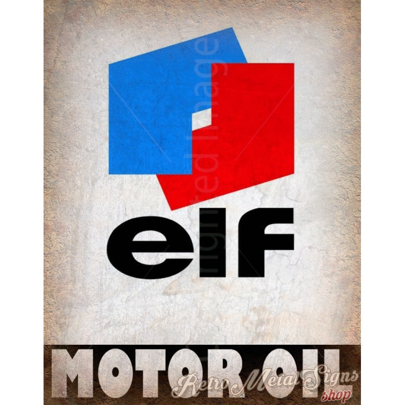 Elf Motor Oil Vintage Garage Metal Tin Sign Wall Plaque