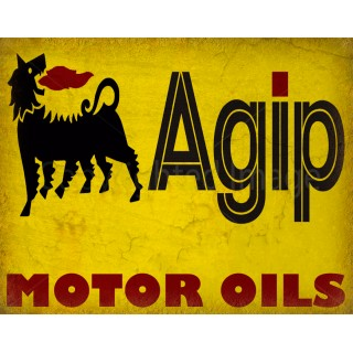 Agip Motor Oil vintage metal tin sign wall plaque
