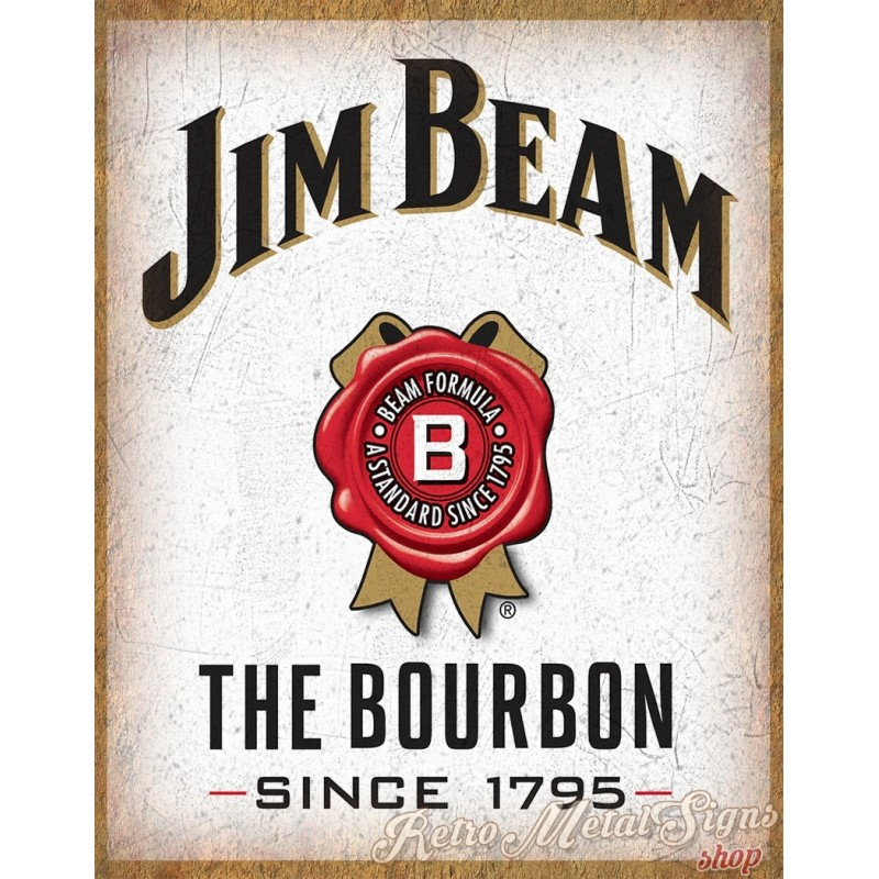 Jim Beam whiskey vintage alcohol metal tin sign poster