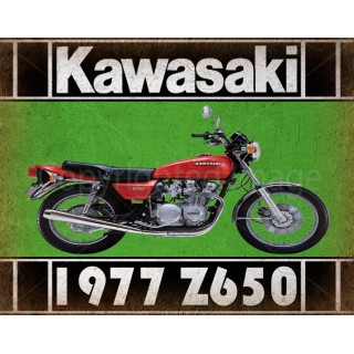 1977 KAWASAKI Z650   motorcycle  vintage garage advertising plaque metal tin sign poster