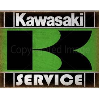 Kawasaki Service motorcycle  vintage garage advertising plaque metal tin sign poster