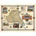 Yorkshire East Riding 1947 pictorial map metal tin sign