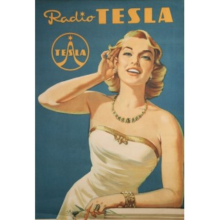 Tesla Radio vintage advertisement metal tin sign