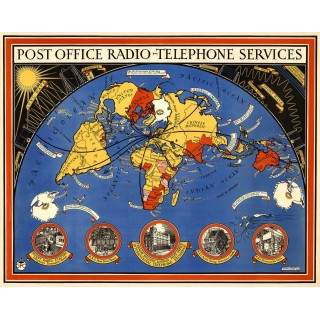 Post Office radio telephone services 1935 pictorial map metal tin sign poster