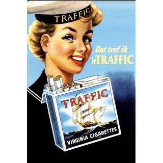 Traffic Virginia Cigarettes vintage tobacco  metal tin sign poster