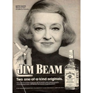 Jim Beam Bette Davis whiskey vintage alcohol metal tin sign poster