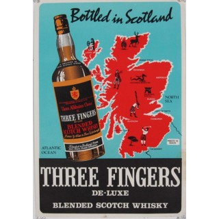 Three Fingers Scotch whiskey vintage alcohol metal tin sign poster
