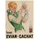 Evian Cachat mineral water vintage metal tin sign poster