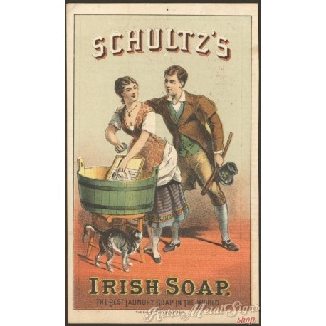 Shultzs Irish Soap Vintage Metal Tin Sign Poster Wall Plaque