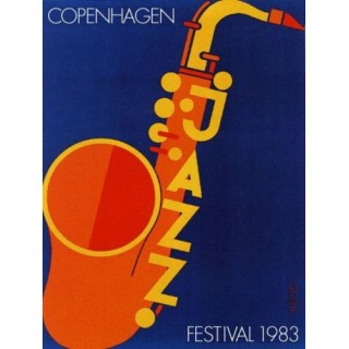 Copenhagen 1983 Jazz Festival metal tin sign poster wall plaque