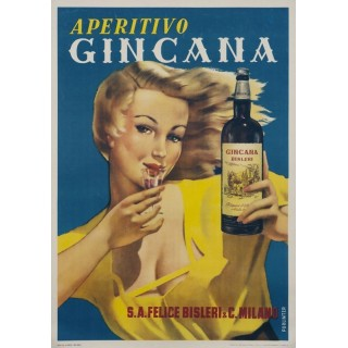 Aperitivo Gincana vintage alcohol metal tin sign poster