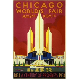 Chicago Worlds Fair 1933 vintage travel metal tin sign poster