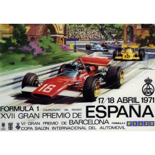 1971 Spanish GP Race metal tin sign poster plaque