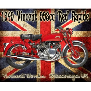 Vincent HRD Red Rapide vintage metal tin sign poster plaque
