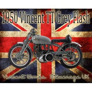 Vincent TT Grey Flash vintage metal tin sign poster plaque